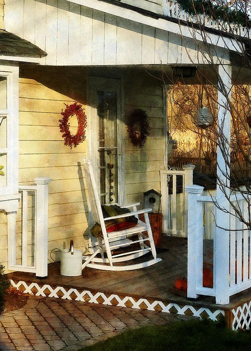 Porch Greeting Card featuring the photograph Rocking Chair On Side Porch by Susan Savad