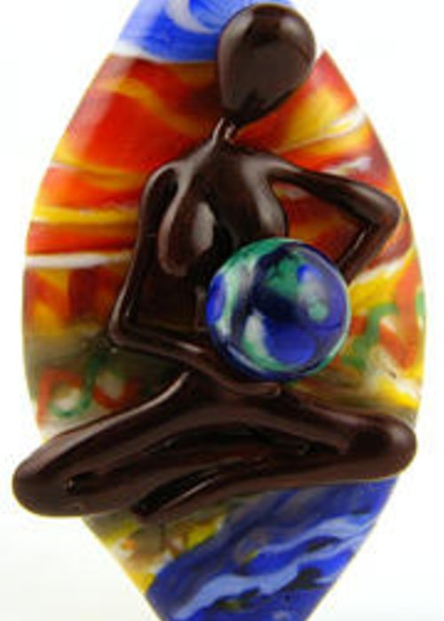 Glass Greeting Card featuring the glass art Rocking The Earth by Sheila Morley
