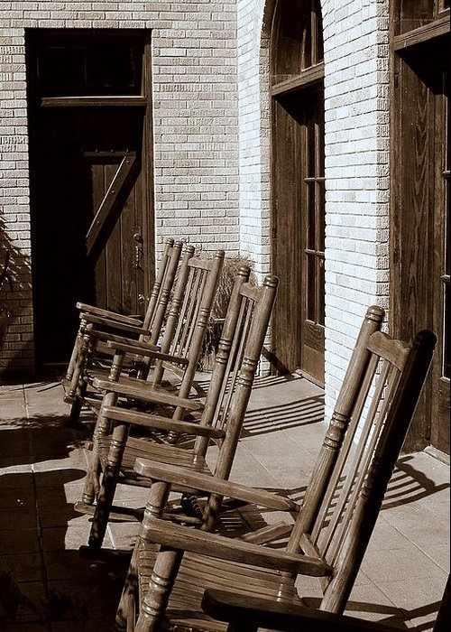 Chairs Greeting Card featuring the photograph Rocking To Relax by Karen Musick