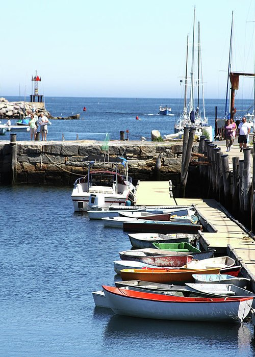 Boats Greeting Card featuring the photograph Rockport Ma Inner Harbor by James Hoolsema