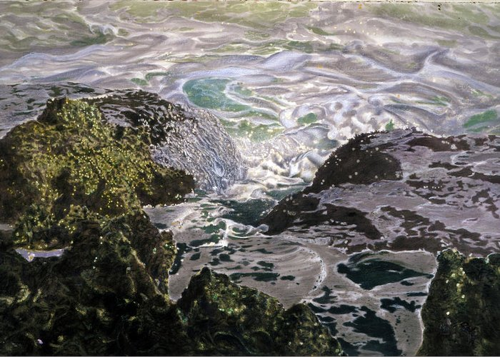 Seascapes Greeting Card featuring the pastel Rocks And Sea Foam by Olga Spiegel