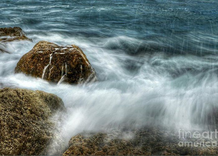 Landscape Greeting Card featuring the photograph Rocks Awash by Glenn Forman