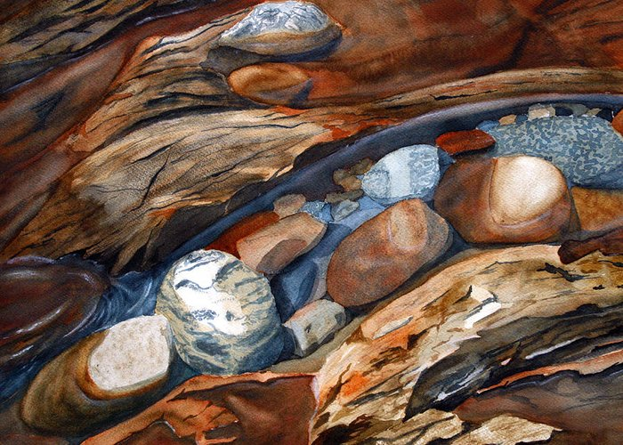 Rocks Greeting Card featuring the painting Rocks by Julie Pflanzer
