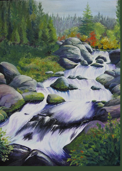 Waterfall Greeting Card featuring the painting Rocky Creek by Karen Stark