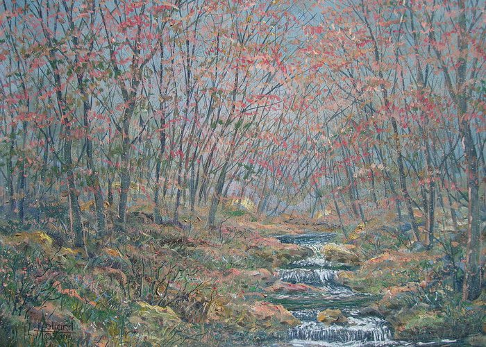 Painting Greeting Card featuring the painting Rocky Forest. by Leonard Holland