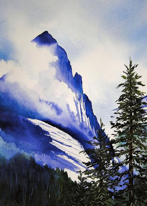 Rocky Mountains Greeting Card featuring the painting Rocky Mountain High by Karen Stark