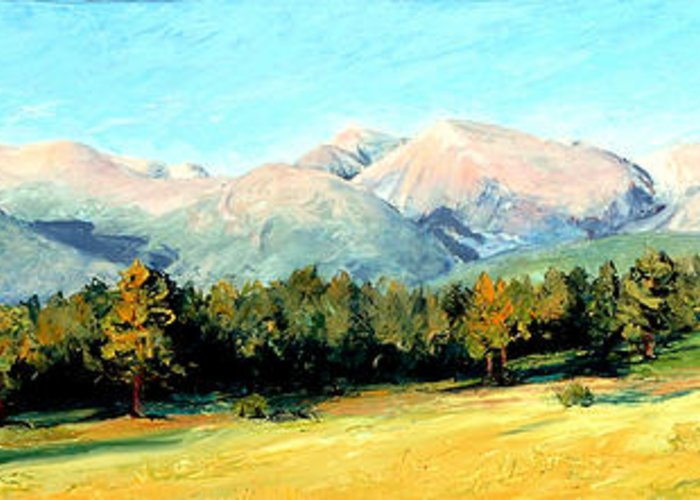 Rocky Mountains Greeting Card featuring the painting Rocky Mountain Panoramic by Mary Giacomini