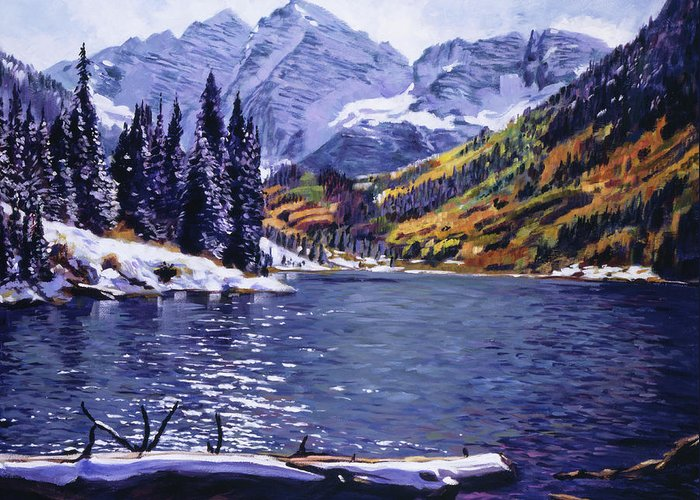 Mountains Greeting Card featuring the painting Rocky Mountain Serenity by David Lloyd Glover