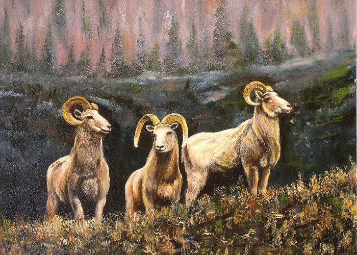 Connie Tom Greeting Card featuring the painting Rocky Mountain Sheep by Connie Tom