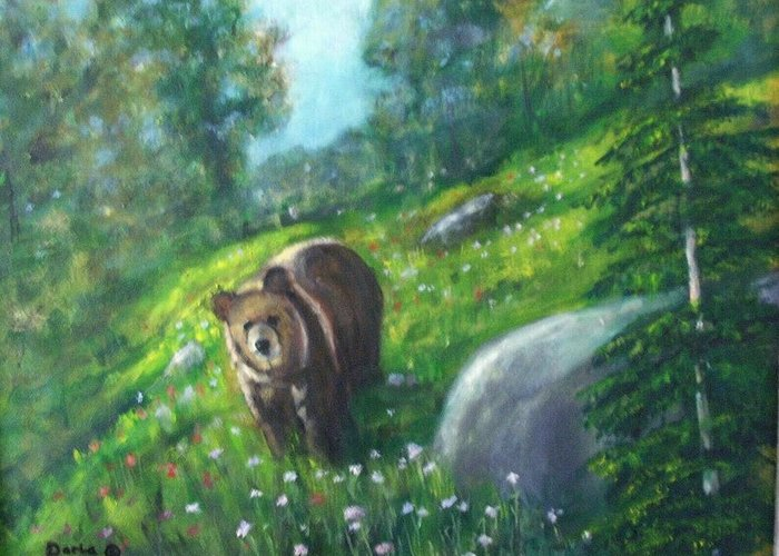 Wildlife Greeting Card featuring the painting Rocky Mountain Spring by Darla Joy Johnson