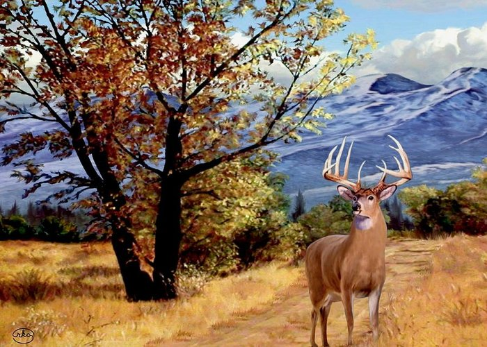 Rocky Mountain An Am As At If In Is It Of On Or Us A Be He Me We Do No So To By Than From And The This But For With Ron Ronald K Ronnie Chambers Rkc Path Narrow Mountain Leading  Open Trail Rocky Forest Flowers Stream Evening Twilight Fall Mount Rainier Deer Antlers Fawn Stag Doe Meadow High Season Hunting Landscape Scape High Nature Wildlife Animals Wild Mule Buck Woodlands White Tail Wilderness Now Road Autumn Fall Greeting Card featuring the painting Rocky Mountain Trail by Ron Chambers