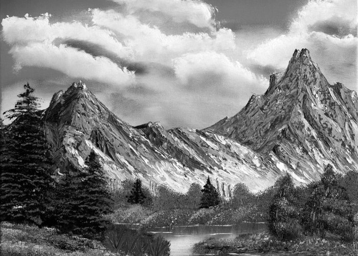 Black And White Greeting Card featuring the painting Rocky Mountain Tranquil Escape In Black And White by Claude Beaulac