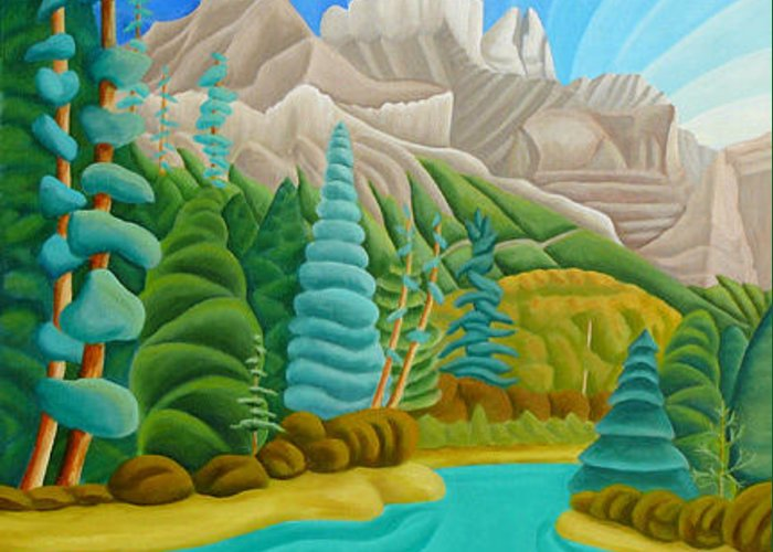Landscape Greeting Card featuring the painting Rocky Mountain View 2 by Lynn Soehner
