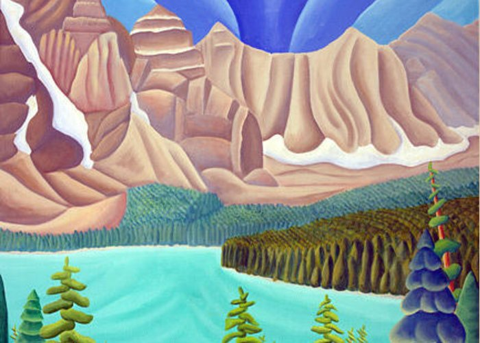 Landscape Greeting Card featuring the painting Rocky Mountain View 3 by Lynn Soehner