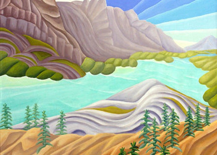 Landscape Greeting Card featuring the painting Rocky Mountain View 6 by Lynn Soehner