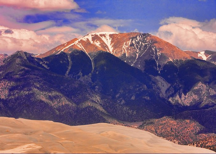 the Great Colorado Sand Dunes Greeting Card featuring the photograph Rocky Mountains And Sand Dunes by James BO Insogna