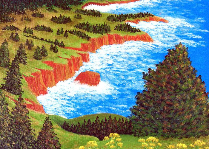 Landscape Paintings Greeting Card featuring the painting Rocky Oregon Coast by Frederic Kohli