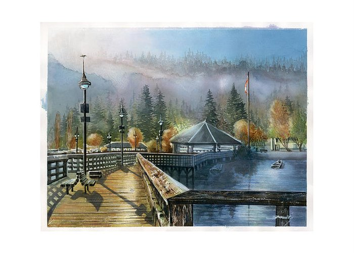 Landscape Greeting Card featuring the painting Rocky Point Park by Dumitru Barliga