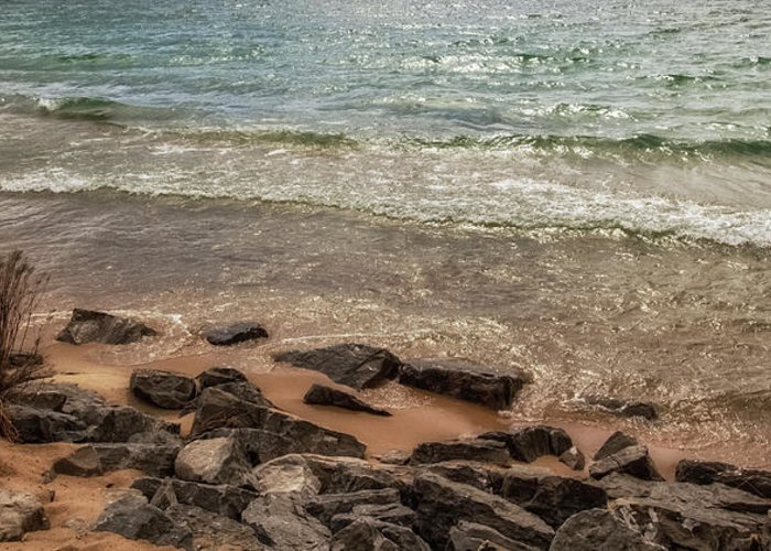 Rocks Greeting Card featuring the photograph Rocky Shore by Heather Kenward