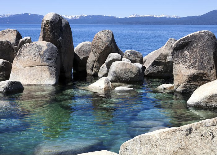 Lake Tahoe Greeting Card featuring the photograph Rocky Shore by Janet Fikar