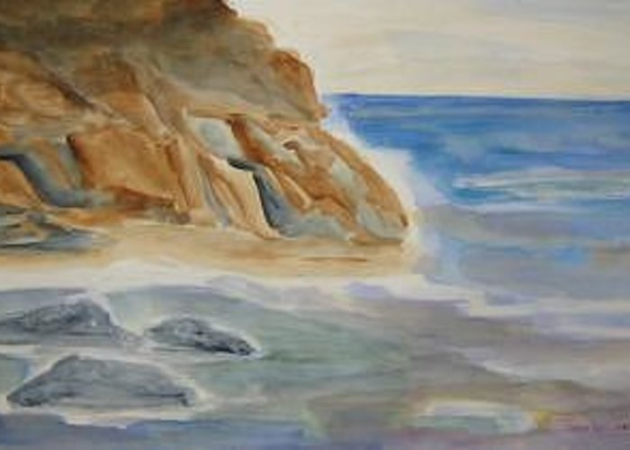 Rocks On A Beach Greeting Card featuring the painting Rocky Shore by Joan Wallace Reeves