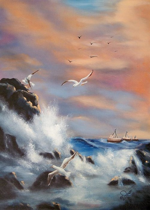 Coast Greeting Card featuring the painting Rocky Shore by Joni McPherson