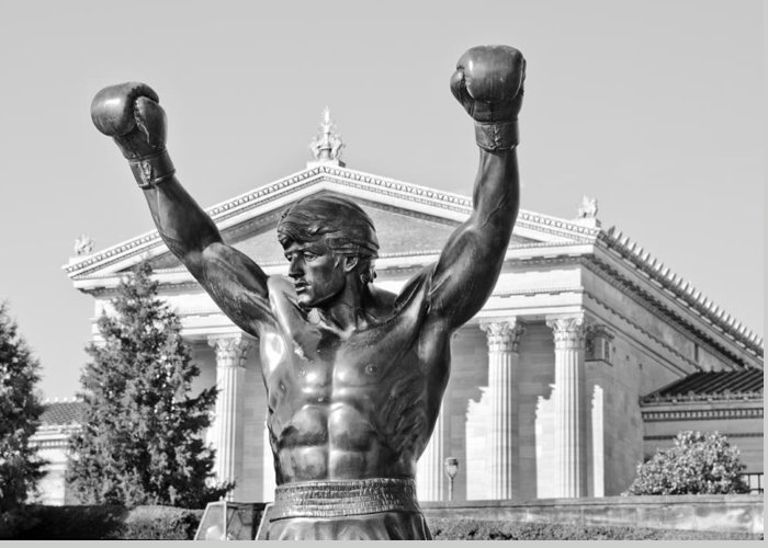 rocky Statue Greeting Card featuring the photograph Rocky Statue - Philadelphia by Brendan Reals