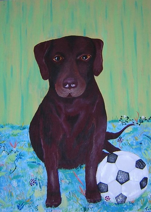Dog Greeting Card featuring the painting Rocky by Valerie Josi