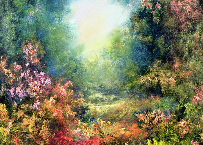 Divine Light Greeting Card featuring the painting Rococo Delight by Hannibal Mane