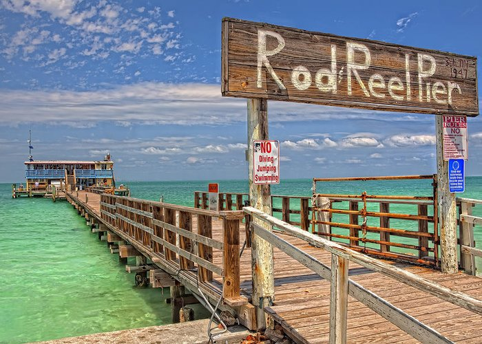 Rod And Reel Pier Greeting Card featuring the photograph Rod And Reel Pier Anna Maria Island by Jim Dohms