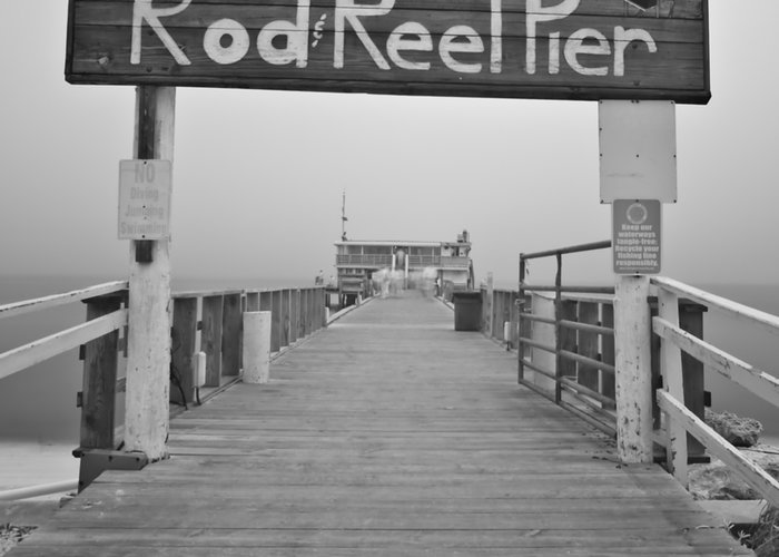 Rod And Reel Pier Greeting Card featuring the photograph Rod And Reel Pier In Fog In Infrared 53 by Rolf Bertram