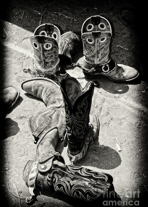 Cowboy Boots Greeting Card featuring the photograph Rodeo Boots And Spurs by Gus McCrea