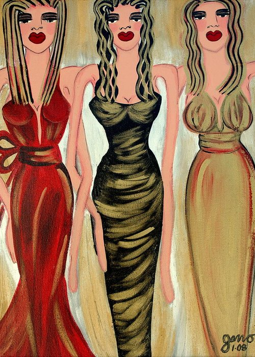 Figures Greeting Card featuring the painting Rodeo Drive by Helen Gerro