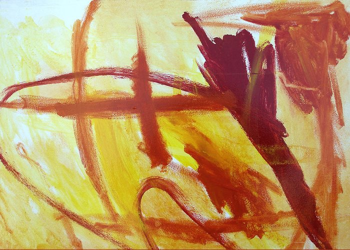Abstract Greeting Card featuring the painting Rodeo Roundup Left by Maggie Hernandez