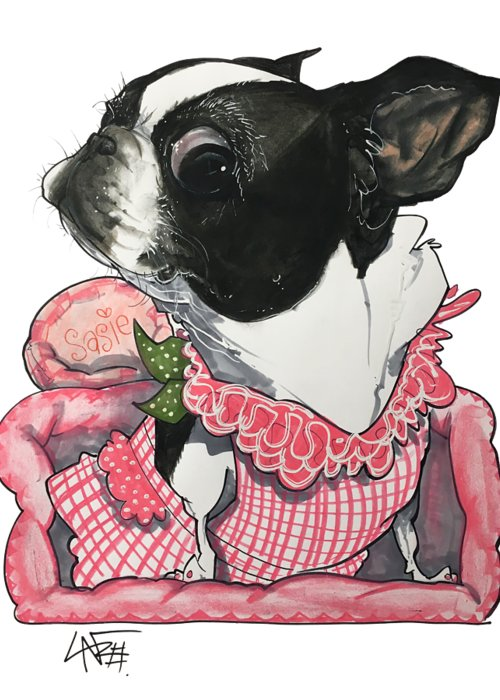 Pet Portrait Greeting Card featuring the drawing Rodriguez 7-1475 by John LaFree