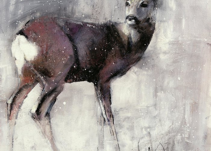 Grazing Snow Mixed Media Greeting Cards