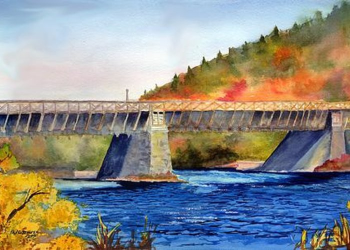 Landscape Greeting Card featuring the painting Roebling Aqueduct Bridge by Paul Temple