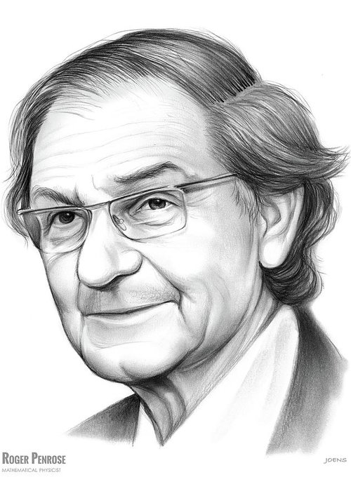 Roger Penrose Greeting Card featuring the drawing Roger Penrose by Greg Joens