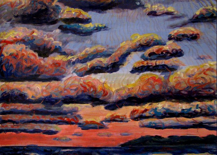 Skies Greeting Card featuring the painting Roiling Skies by Art Nomad Sandra Hansen