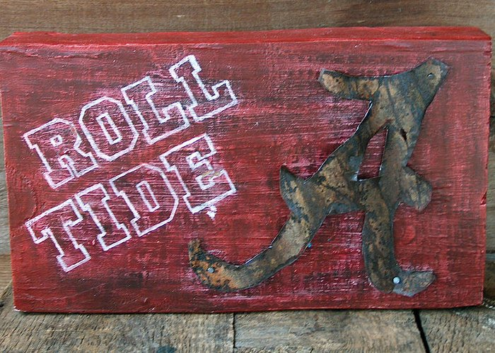Roll Tide Greeting Card featuring the mixed media Roll Tide - Large by Racquel Morgan