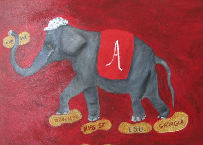 Elephant Greeting Card featuring the painting Roll Tide by Brenda Luczynski