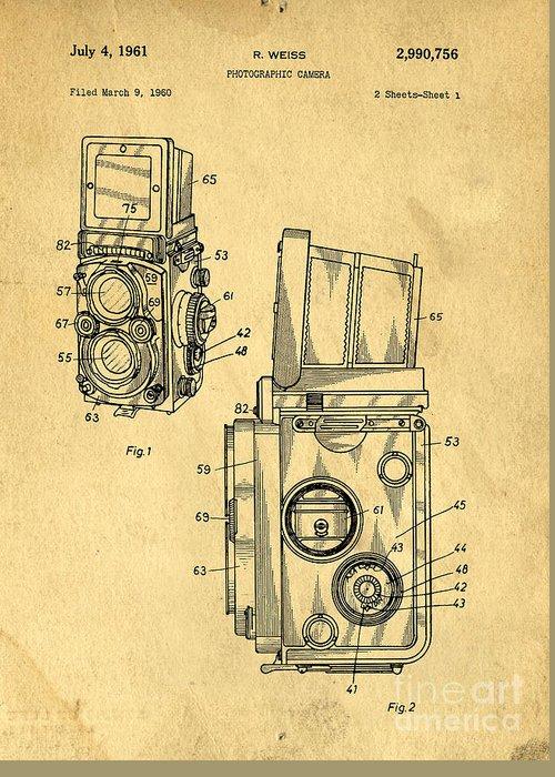 Medium Greeting Card featuring the drawing Rolleiflex Medium Format Twin Lens Reflex Tlr Patent by Edward Fielding