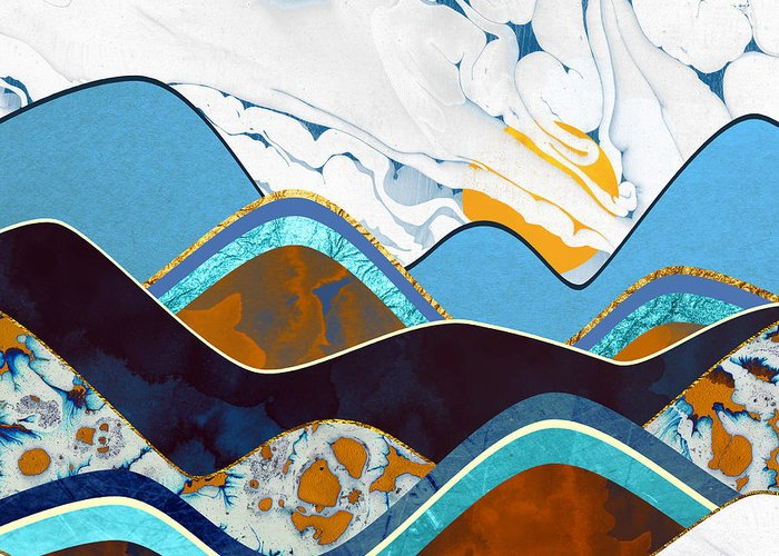 Hills Greeting Card featuring the digital art Rolling Hills by Spacefrog Designs