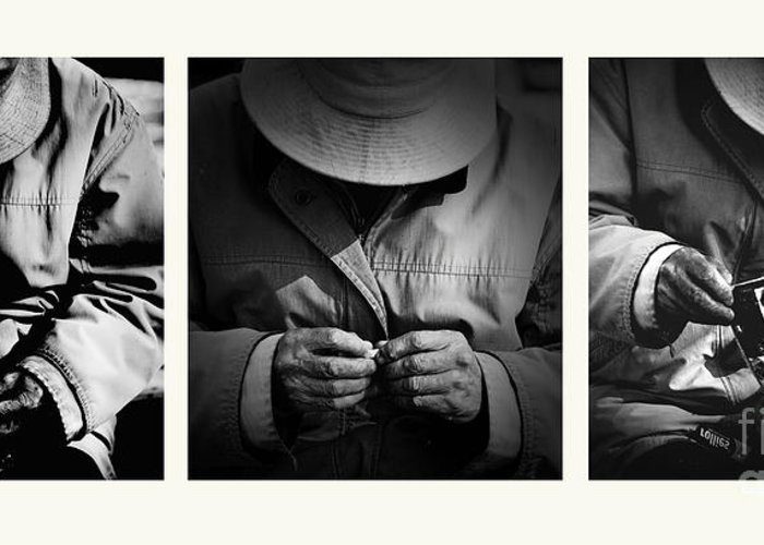 Rollup Rolling Cigarette Smoker Smoking Man Hat Monochrome Greeting Card featuring the photograph Rolling His Own by Sheila Smart Fine Art Photography