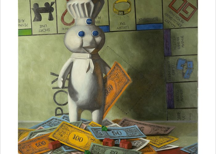 Still Life Greeting Card featuring the painting Rolling In Dough by Judy Sherman