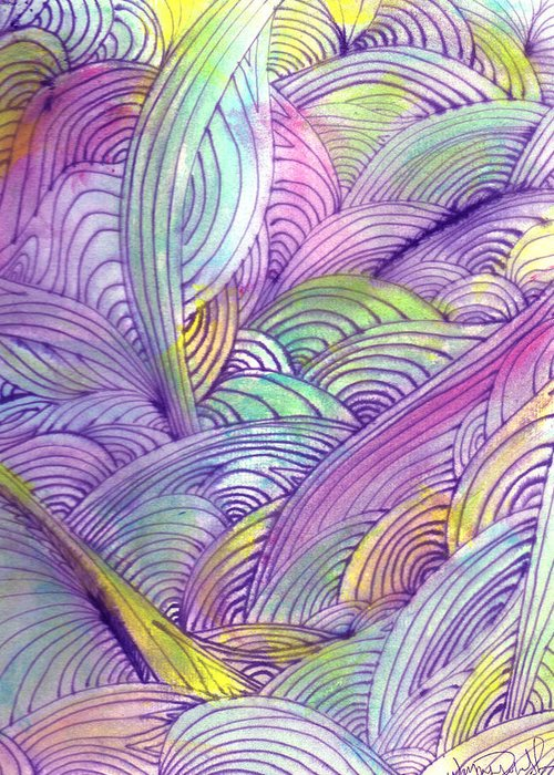 Abstract Greeting Card featuring the painting Rolling Patterns In Pastel by Wayne Potrafka