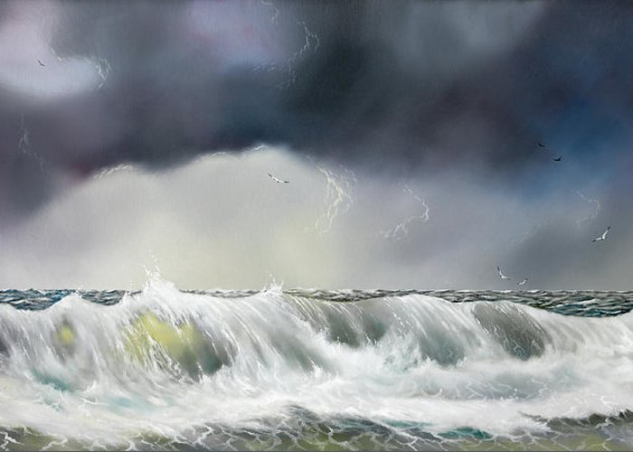 Seascape Greeting Card featuring the painting Rolling Sea by Don Griffiths