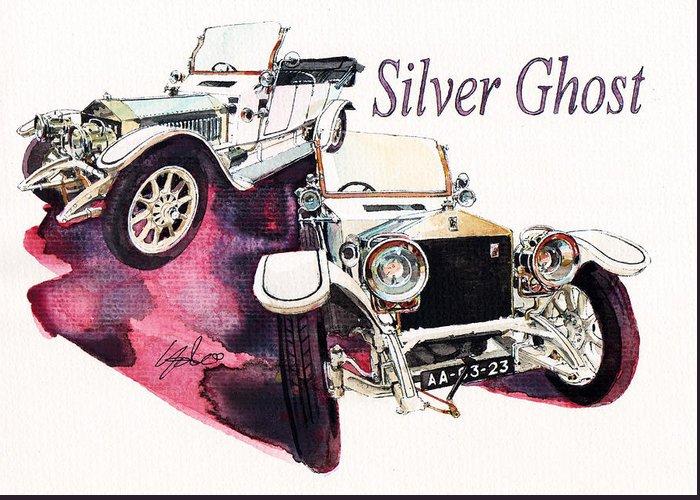 Rolls Royce Silver Ghost (1911) Greeting Card featuring the painting Rolls Royce Silver ghost             by Yoshiharu Miyakawa
