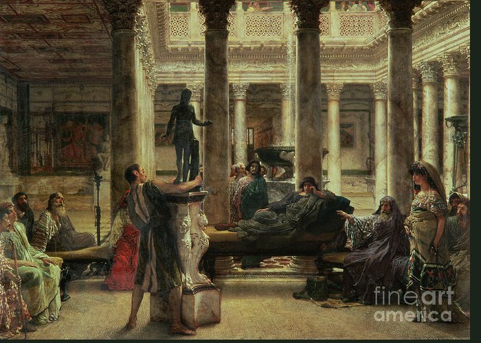 Roman Greeting Card featuring the painting Roman Art Lover by Sir Lawrence Alma-Tadema