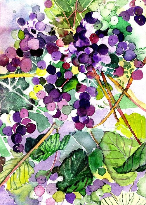Wine Greeting Card featuring the painting Roman Grapes by Mindy Newman